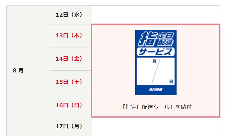 佐川急便(2020年8月13日~8月16日)